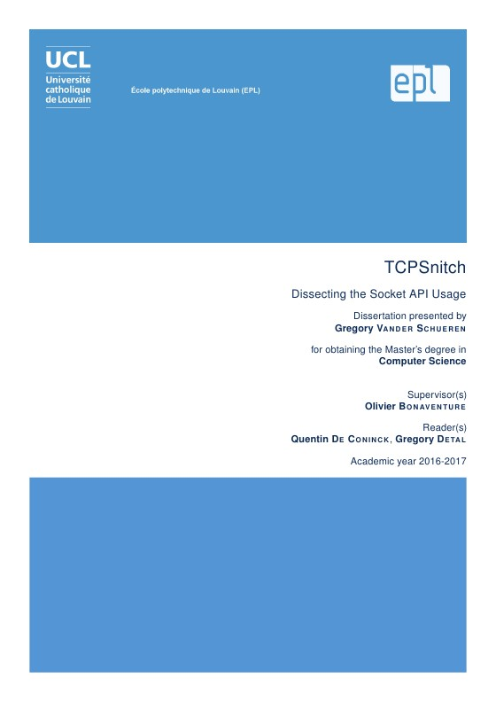 TCPSnitch : dissecting the socket API usage | Mémoire UCL