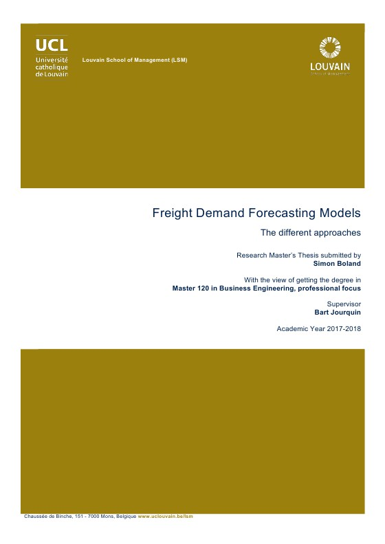 Freight Demand Forecasting Models: The different approaches