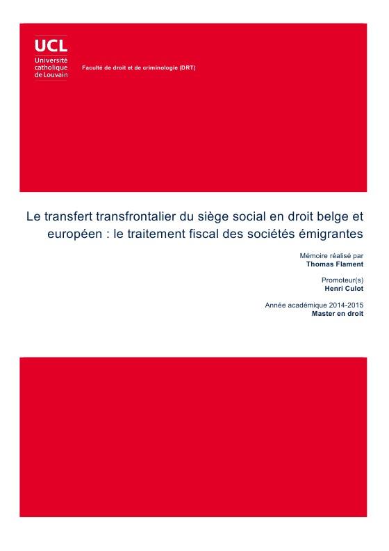 Le transfert transfrontalier du siège social en droit ...